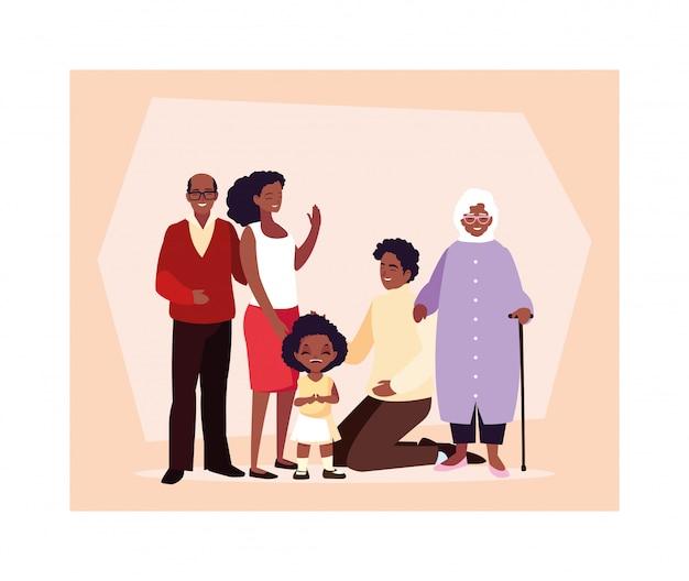 一緒に大家族、3世代の祖父母、異なる年齢の親と子が一緒に