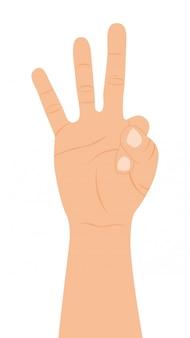 白の背景ベクトルの上に3本の指で手