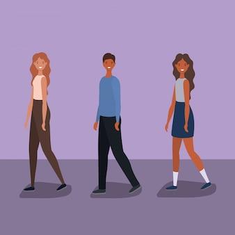 3人の女性と男性の漫画のベクトルデザインを歩く
