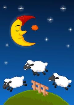 3つの羊がフェンスを飛び越えています。