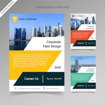 3色の選択肢を持つビジネスチラシテンプレート台形
