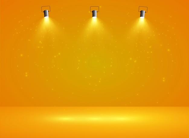 3つのスポットライトと背景が黄色のライトボックス