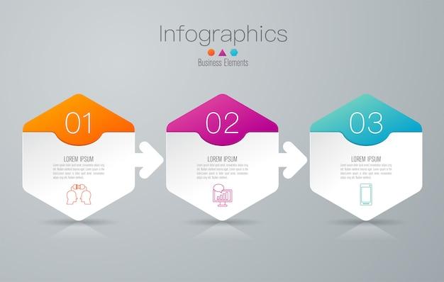 3 шага бизнес инфографики элементы для презентации