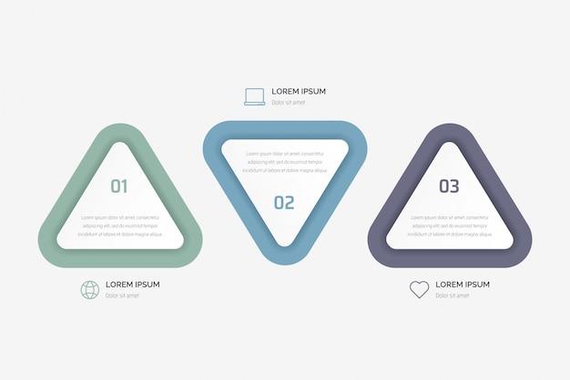 三角形要素のインフォグラフィック。 3つのオプション、パーツ、ステップ、またはプロセスのビジネスコンセプト。