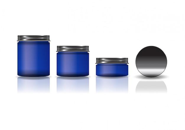 Набор из 3 размеров синей косметической круглой банки с черной крышкой.