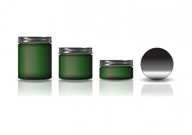 Набор из 3 размеров зеленой косметической круглой банки с черной крышкой.