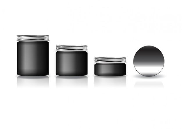 Набор из 3-х размеров черная косметическая круглая банка с серебряной крышкой для красоты или здорового продукта.