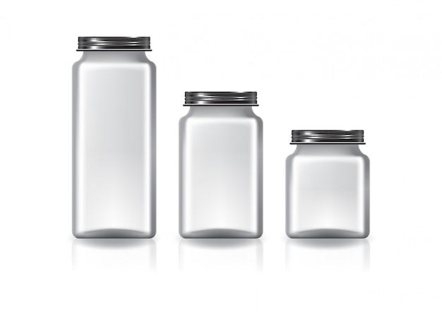 3 размера пустой квадратной банки с черной винтовой крышкой для добавок или пищевых продуктов.