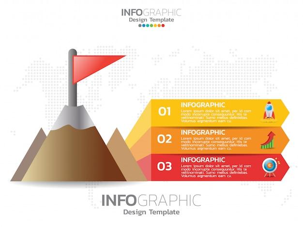 3つのステップ要素を持つピラミッドまたは三角形。