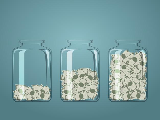 3つのガラス瓶で異なる程度のお金の紙幣。