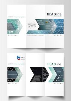 両面に3つ折りパンフレットのビジネステンプレート。