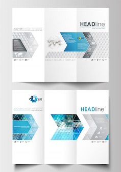 両面に3つ折りパンフレットのビジネステンプレート。フラットデザインで簡単に編集可能なレイアウト。