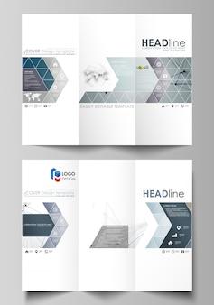 両側に3つ折りパンフレットのビジネステンプレート