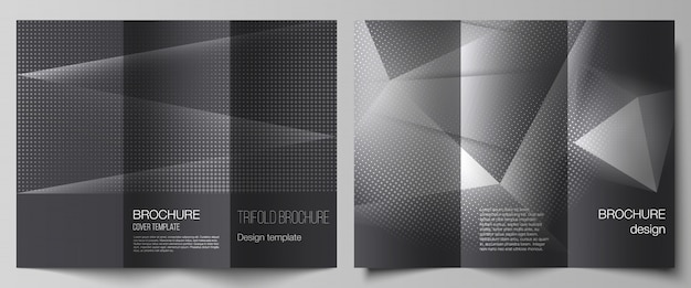 3つ折りパンフレット、チラシのレイアウト、ブックデザイン、パンフレットの表紙、モックアップの広告のカバーデザインテンプレートのレイアウト。灰色のドット、グラデーションの抽象的な背景とハーフトーンドット背景。