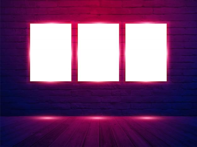 レンガの壁の部屋の背景にベクトル3ポスターモックアップ