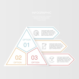 ピラミッド型三角形インフォグラフィックのカラフルな3つの要素。