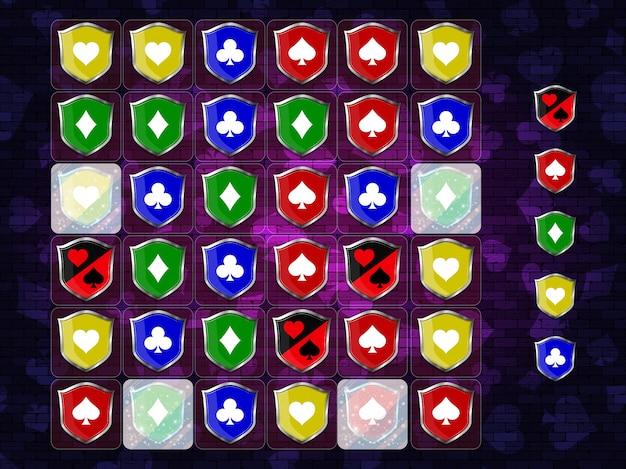 Матч 3 игры. набор игровых элементов пользовательского интерфейса