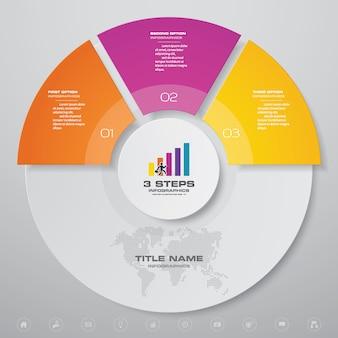 3 шага простой и редактируемый элемент инфографики диаграммы процесса.