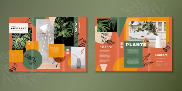 抽象的な3つ折りパンフレットのテンプレート