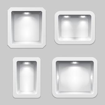 空の白いプラスチック製の箱または隙間のあるディスプレイ、照明付きの3次元展示品の棚。