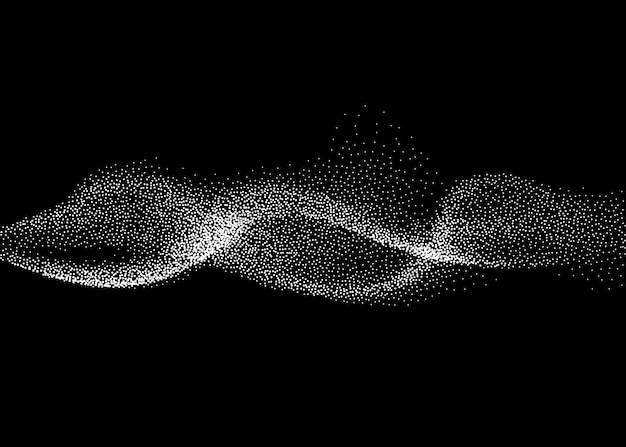 抽象的なスモーキー波のベクトルの背景。 3次元粒子によるナノダイナミックフロー