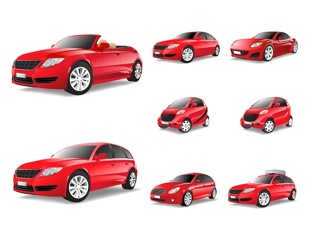 赤い車の3次元イメージは、白い背景に分離