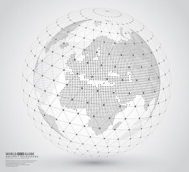 ワイヤフレームスファレを持つ3次元点在世界地図