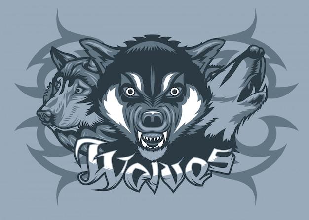 攻撃している3匹のオオカミ