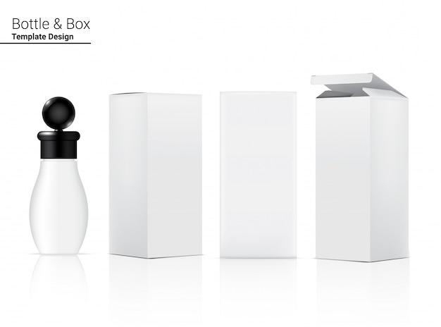 Реалистичная бутылка по уходу за кожей и 3 бокса для косметических товаров или лекарств иллюстрации. здравоохранение, медицинская и научная концепция дизайна.