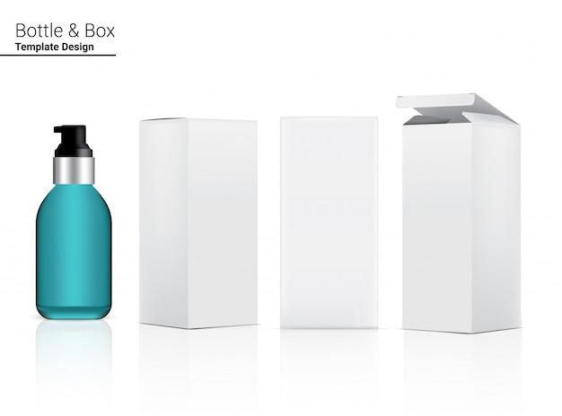 Бутылка насоса реалистичная по уходу за кожей и 3 стороны бокса для косметических товаров первой необходимости или иллюстрации медицины. здравоохранение, медицинская и научная концепция дизайна.
