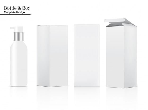 Насос глянцевая бутылка реалистичная косметика и 3-х мерная коробка для отбеливания кожи и старения товаров против морщин иллюстрация. здравоохранение и медицинская концепция дизайна.