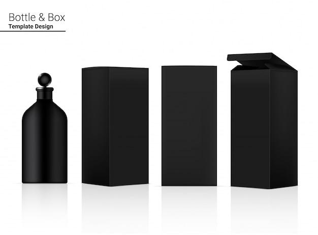 Глянцевая бутылка реалистичная косметика и 3-мерная коробка для отбеливания кожи и старения товаров против морщин иллюстрация. здравоохранение и медицинская концепция дизайна.