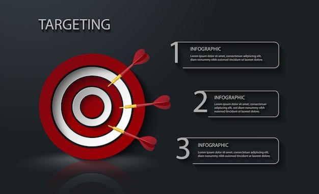 Цель с стрелками дерева инфографики с 3 текстовыми полями
