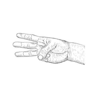 3本の指を指す