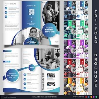 モダンな3つ折りパンフレット表紙デザインテンプレートコレクション