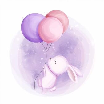 Маленький зайчик летать с 3 воздушными шарами