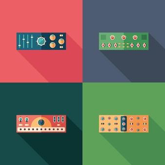 オーディオコンプレッサーフラットスクエアアイコン。セット3
