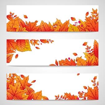 カラフルな紅葉と3つのバナーの設定