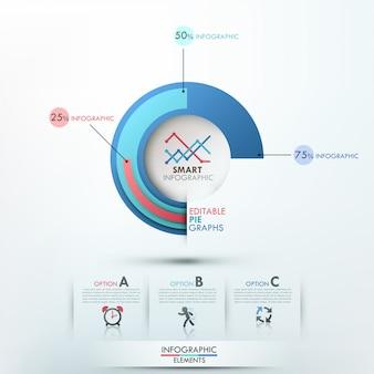 Современный шаблон инфографики с 3 круговыми диаграммами