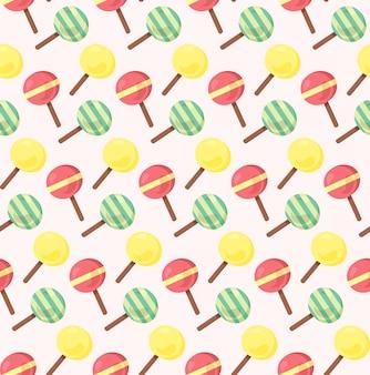 3色のテーマのアイスクリームからのシームレスなパターン
