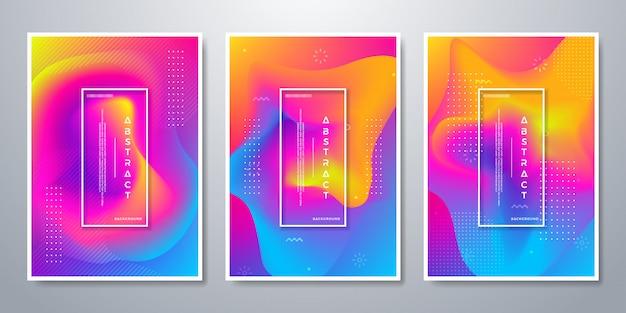 3つの異なるデザインの選択肢と抽象的な背景。