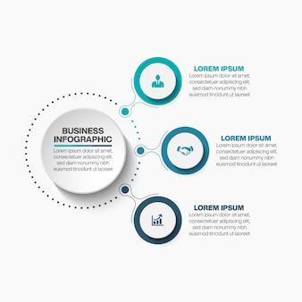 3つのオプションを持つプレゼンテーションビジネスサークルインフォグラフィックテンプレート。