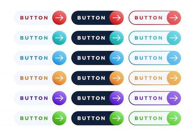 カラフルなボタンセット。テキストと矢印のある3つのスタイルのフラットライングラデーションスライドボタンコレクション。