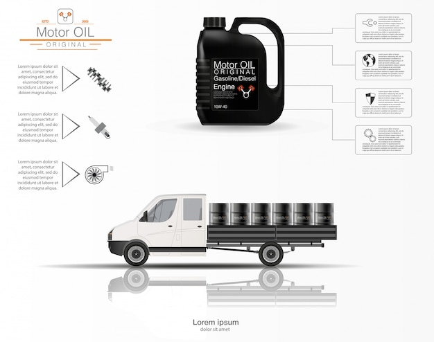 エンジンオイルです。エンジンオイルのインフォグラフィック。白い背景の上のトラックの3次元モデル。オイルの容量。画像。