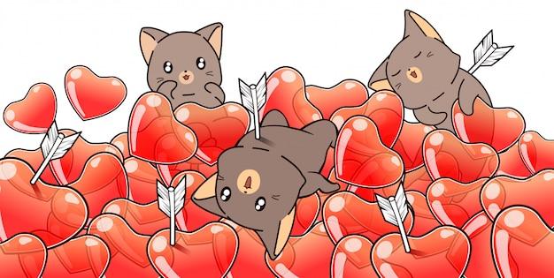 愛らしい3匹の猫とバレンタインの日にたくさんの心