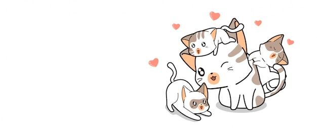かわいい猫は3匹のかわいい赤ちゃん猫を愛しています
