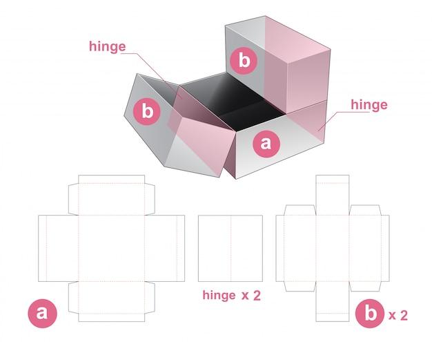 3つ折りパッケージボックスダイカットテンプレートデザイン