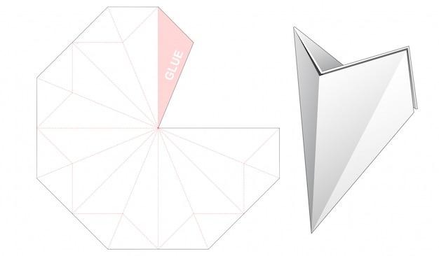 3ポケットコーン型ボックスダイカットテンプレートデザイン