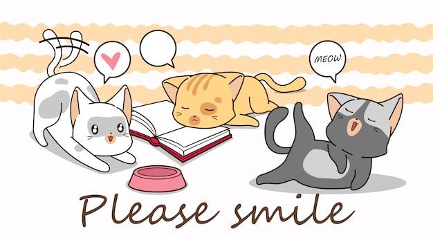 3小さな猫の漫画のキャラクター。