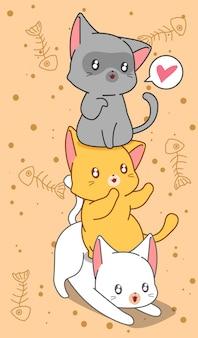 漫画のスタイルで3匹の小さな猫。